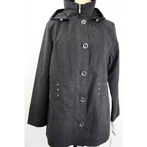 BLACK PRINT 3 / 4 RAINCOAT