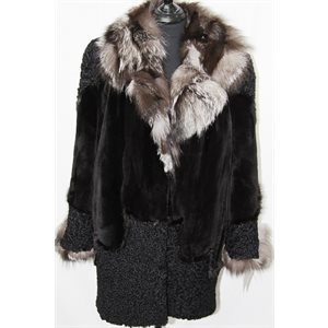BLACK SHEARED BEAVER PIECES, SHEEP AND SILVER FOX COAT