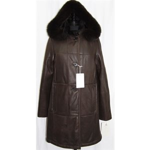 BROWN SHEARLING COAT WITH HOOD