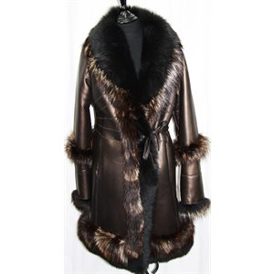 BRONZE & FOX TRIM SHEARLING COAT