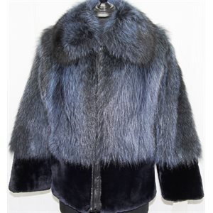 BLUE DYED RACCOON COAT WITH SHEARED BEAVER TRIM
