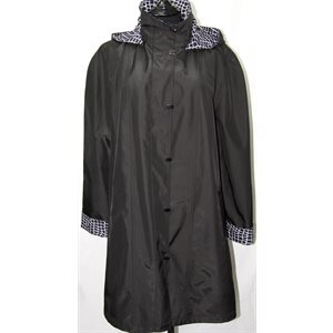 BLACK SPRING JACKET WITH REMOVABLE HOOD