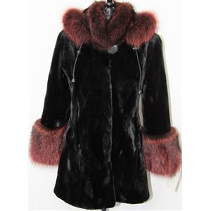 BLACK SHEARED BEAVER PIECES COAT WITH RACCOON TRIM