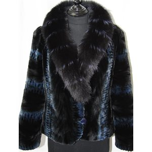 BLUE-BLACK DYED MINK PAW JACQUET WITH FOX COLLAR