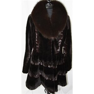 BROWN MINK PAW COAT WITH FOX COLLAR