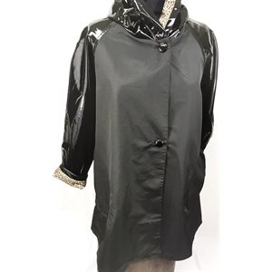 BLACK PLASTIC SLEEVES & BLACK POLYESTER RAINCOAT