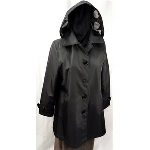BLACK RAINCOAT WITH HOOD