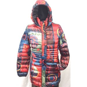MANTEAU POLYESTER ROUGE MULTI-COLORE