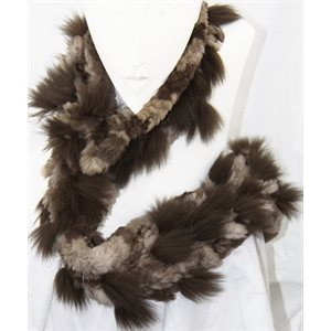 SHEARED BEAVER SCARF WITH FOX TRIM