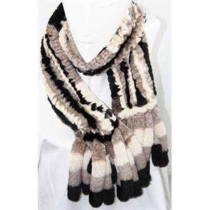REX RABBIT & MINK KNITTED SCARF