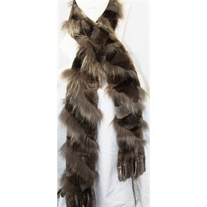 SHEARED NATURAL BEAVER & RACCOON SCARF