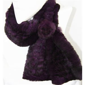 REX ROSETTE PULL THROUGH SCARF PURPLE & BLACK