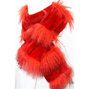 RED SHEARED BEAVER SCARF WITH MONGOLIAN SHEEP