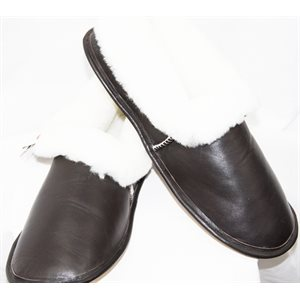BROWN  LEATHER FINISH SHEEP SLIPPERS FOR MEN