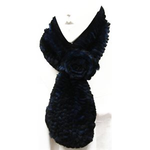 MIDNIGHT BLUE KNITTED REX RABBIT SCARF