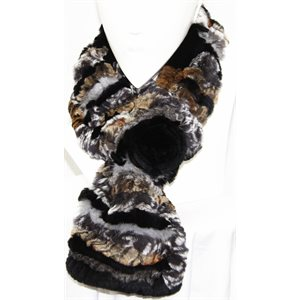 SLATE KNITTED REX RABBIT SCARF