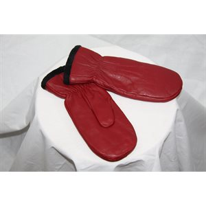 RED LEATHER MITTENS LINED WITH FLEECE