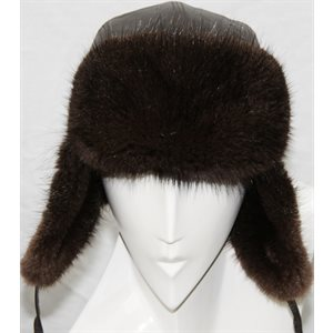 OTTER DYED MUSKRAT & LEATHER HAT